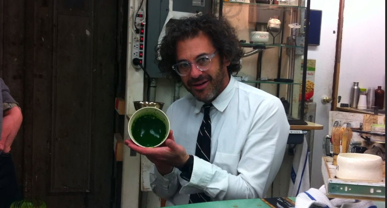 Day 8. Getting work done around the office. Preparing for a big update tomorrow (heading to Yame tea farm). Above, Tom Sachs posing with our matcha at his studio in NYC.