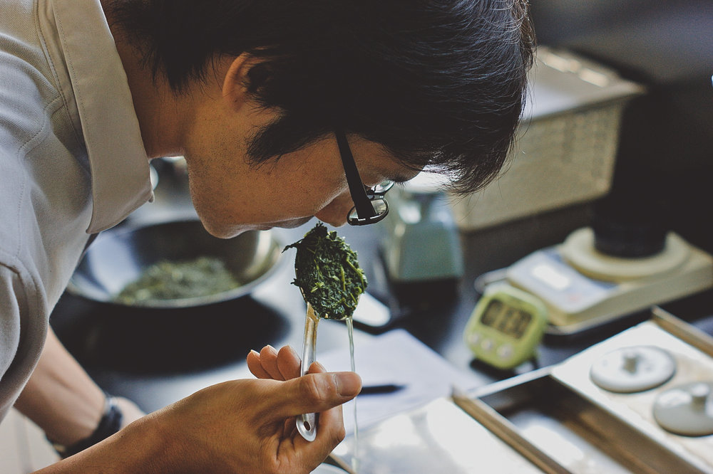 "Shinya san evaluating Tea - He is one of only 5 ""10th Rank"" level tea professionals in Japan"