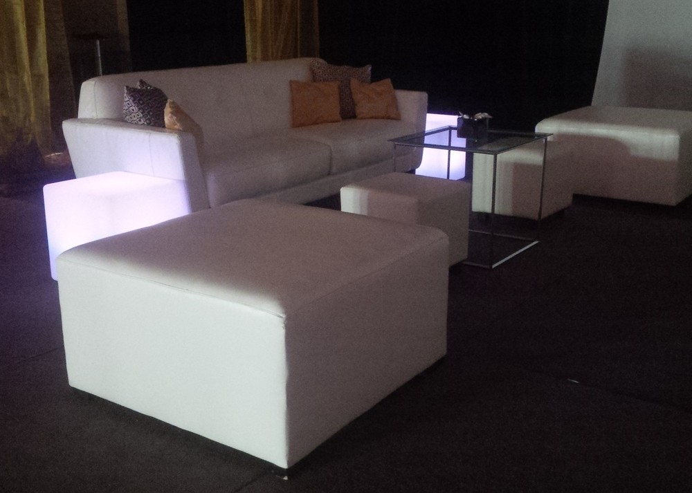 White Lounge Furniture and Glow Cubes