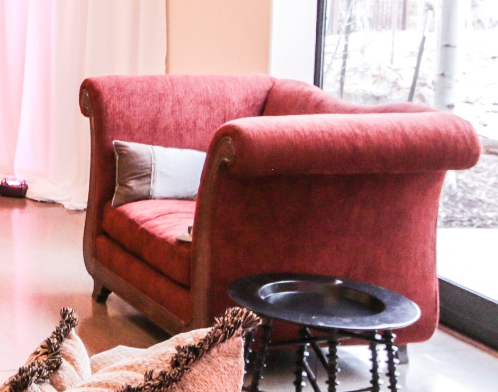 Over-sized burgundy armchairs. Goes well with the taupe chenille furniture above. Great for photo shoots as they are comfy for a bride and groom. 2 in the inventory. (Photo courtesy of All Digital)