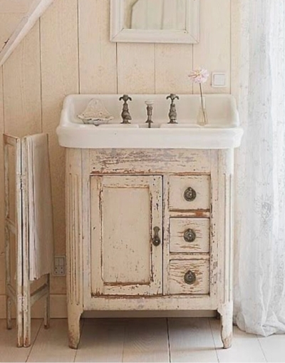 Here is one last inspiration Picture I found on Min Lilla Veranda Blog Via Pinterest. If you like the authenic chippy look, you may even want to consider Milk Paint over Chalk Paint for your furniture. We have both at the shop and will be glad to explain the difference. We can also help you choose the perfect color for your project.