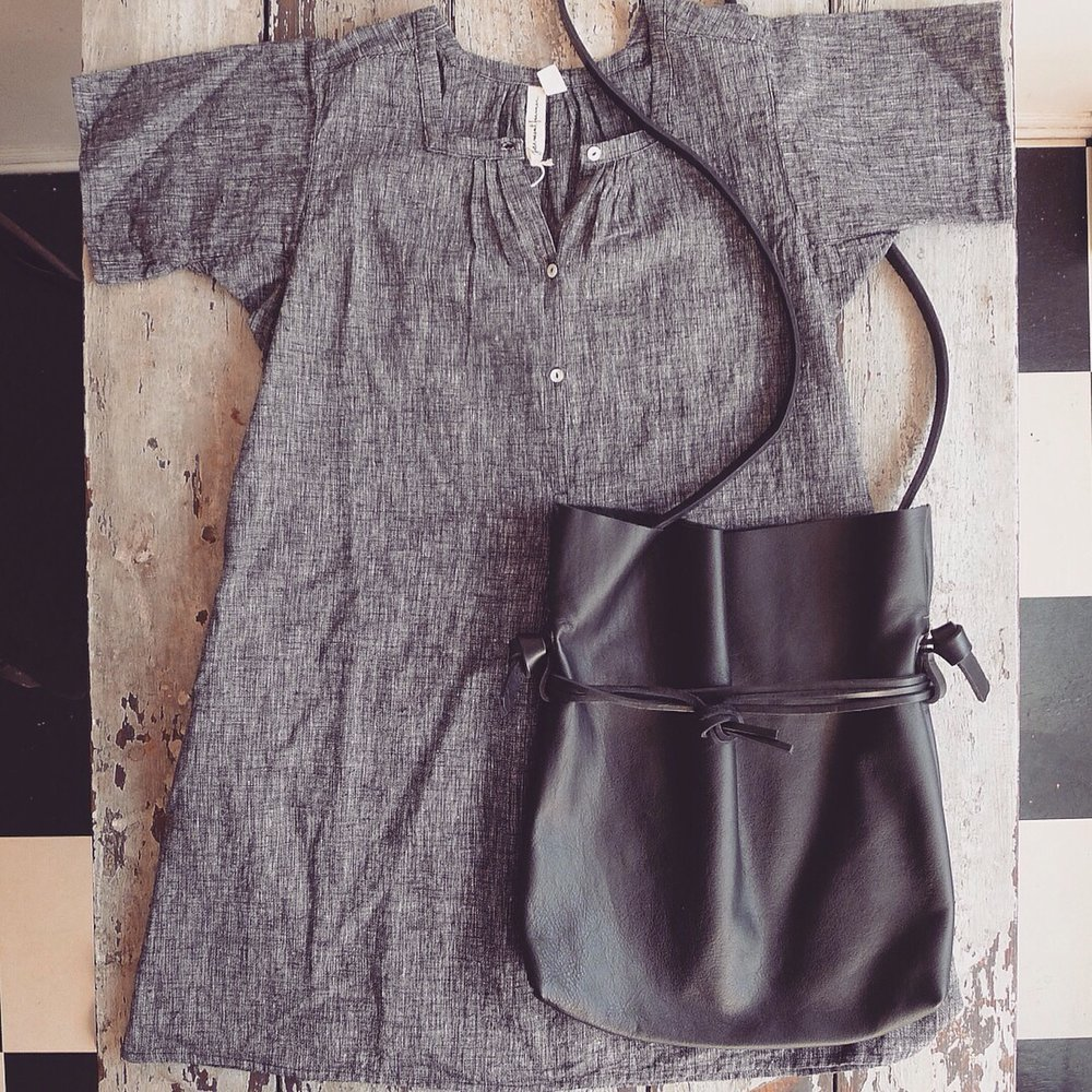 garment farmer tunic + specialty dry goods drawstring bag