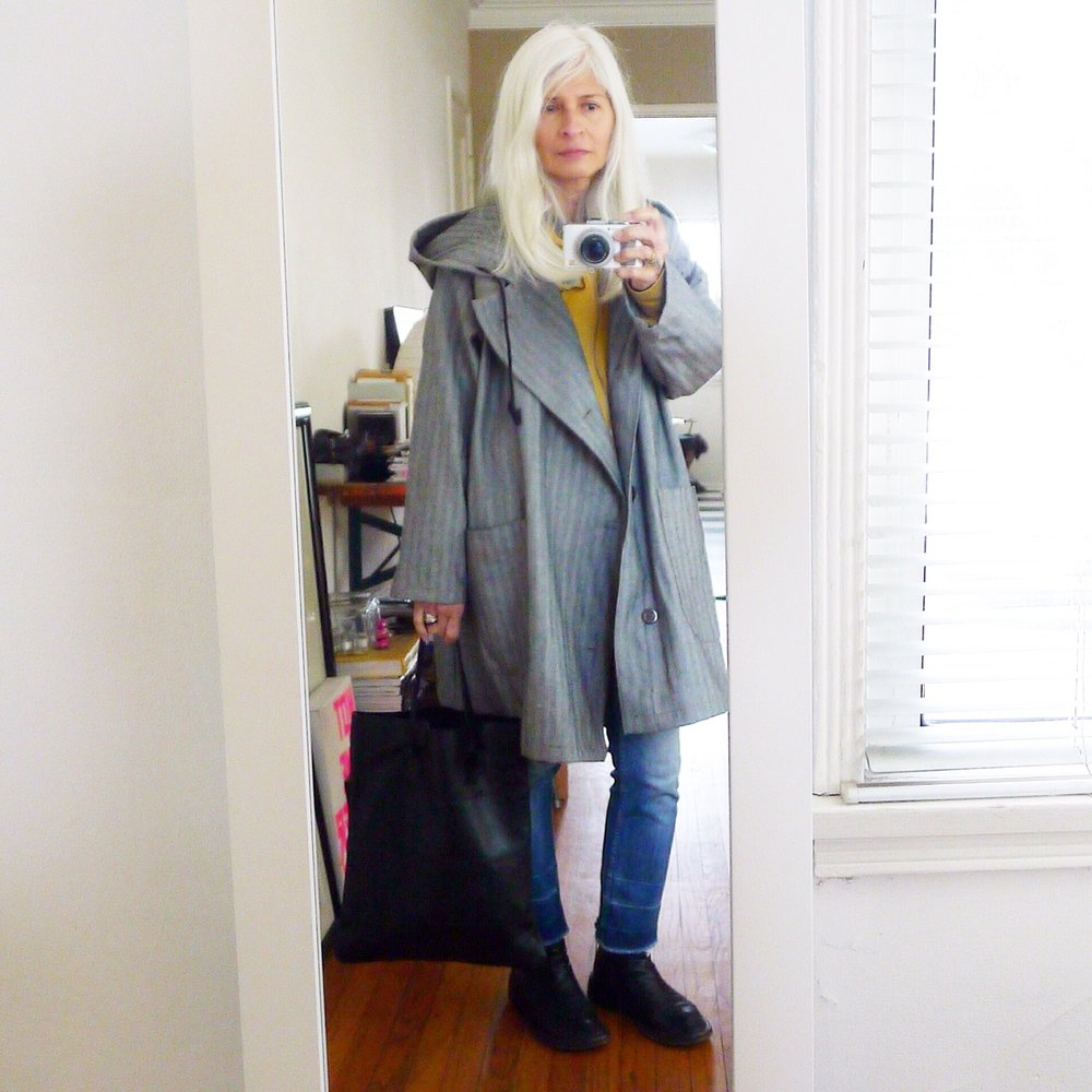 garment farmer coat + specialty dry goods leather shopper