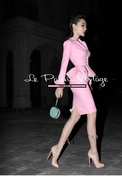 8b2793424 Vintage retro pin up paste pink pencil skirt 2 piece set suit — GOOD ...