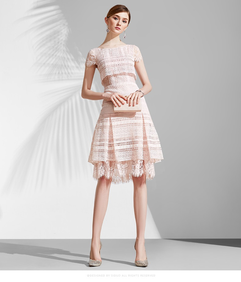 Pink cocktail dress with lace