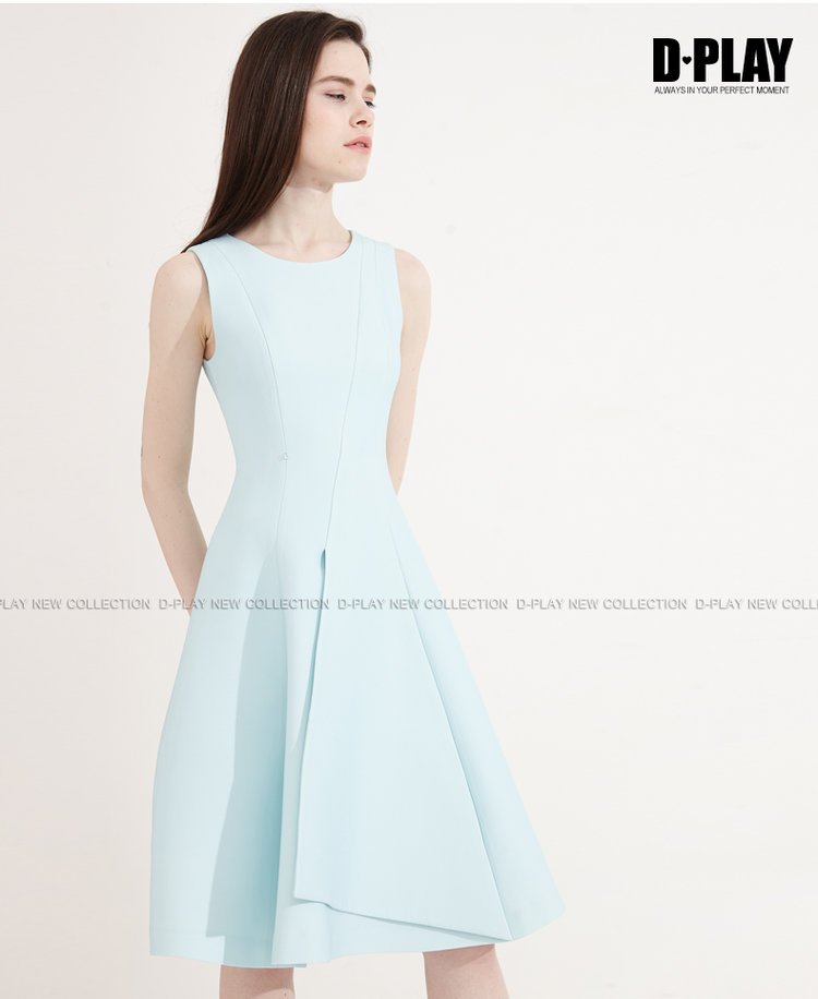 D Play Spring And Summer Pastel Blue Slim Dress Sleeveless A Skirt