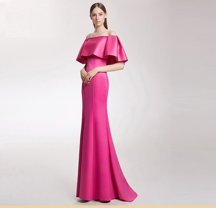 Highend Simple Fuchsia Pink Off Shoulder Trumpet Train Evening Gown