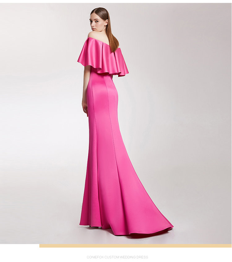 Highend simple fuchsia pink off shoulder trumpet train evening gown ...
