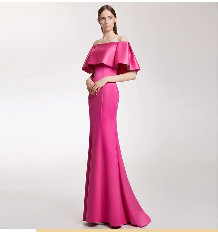 Highend simple fuchsia pink off shoulder trumpet train evening gown wedding prom dress