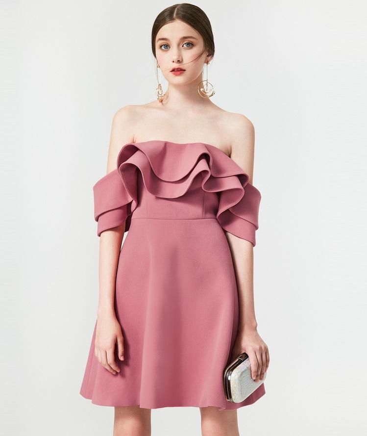 a3ce3d57ad Sugar ruffled side dress off shoulder tube top bare shoulder dress - Nagiar
