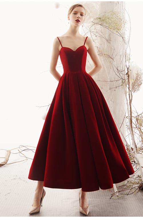 8f2b171d2e8 Luxurious red velvet strap open back corset vintage retro style 1950 skirt  velvet evening cocktail midi gown - Vasa
