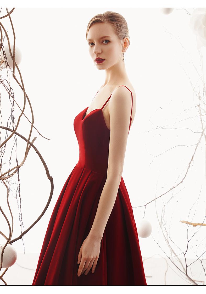 beda7c876e9 Luxurious red velvet strap open back corset vintage retro style 1950 skirt  velvet evening cocktail midi gown - Vasa — GOOD GIRL REBEL