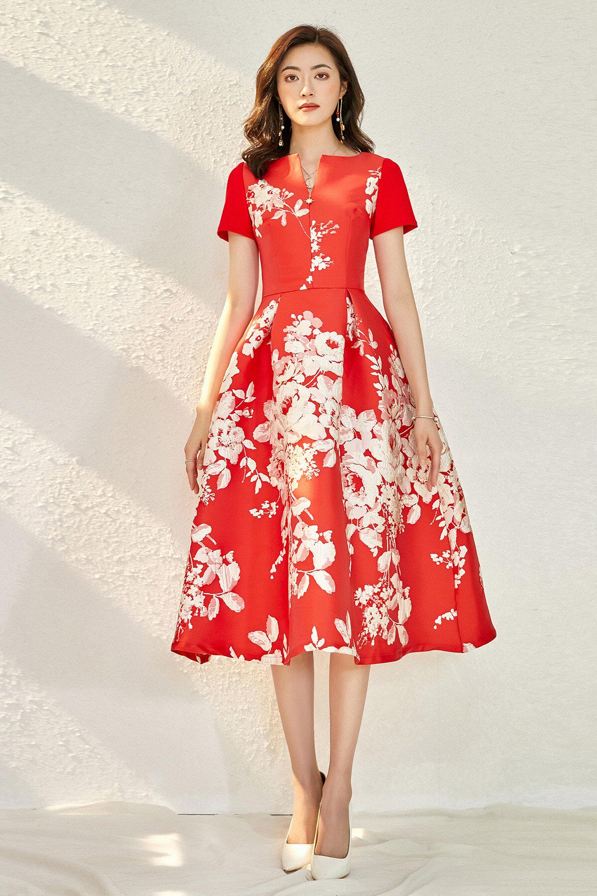 Spring retro 18 red feminine jacquard short sleeve wedding guest audrey  hepburn dress   Bailey — GOOD GIRL REBEL