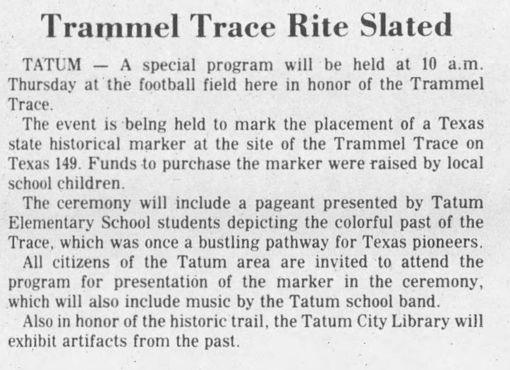 1977-05-05, Longview News-Journal, p 2, Trammel Trace Marker.jpg