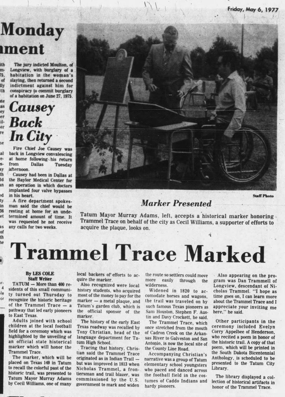 1977-05-06, Longview News-Journal, p 16B, Tatum marker.jpg