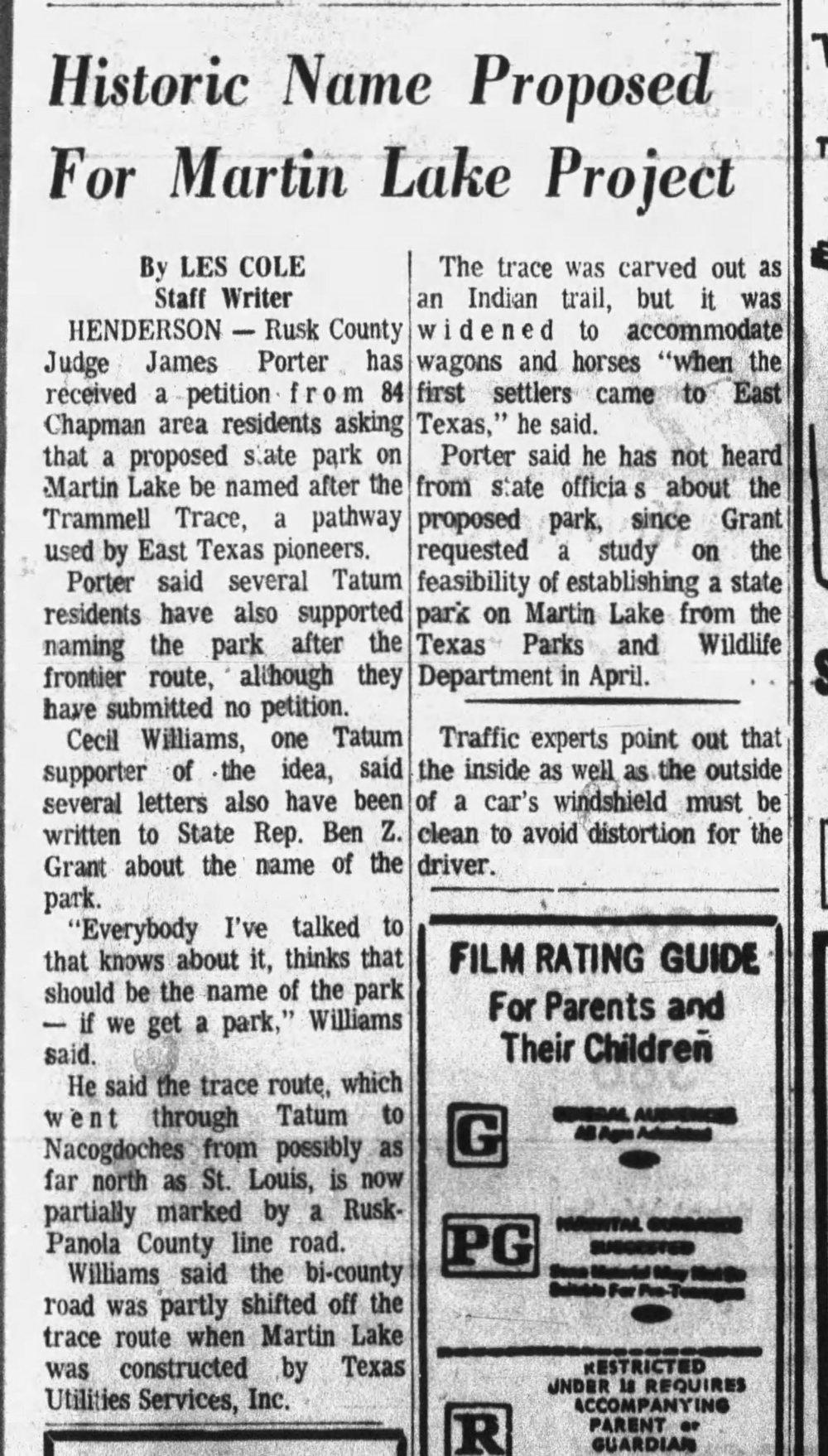 1975-06-09, Longview News-Journal, p 7C, Trammel name for State park.jpg