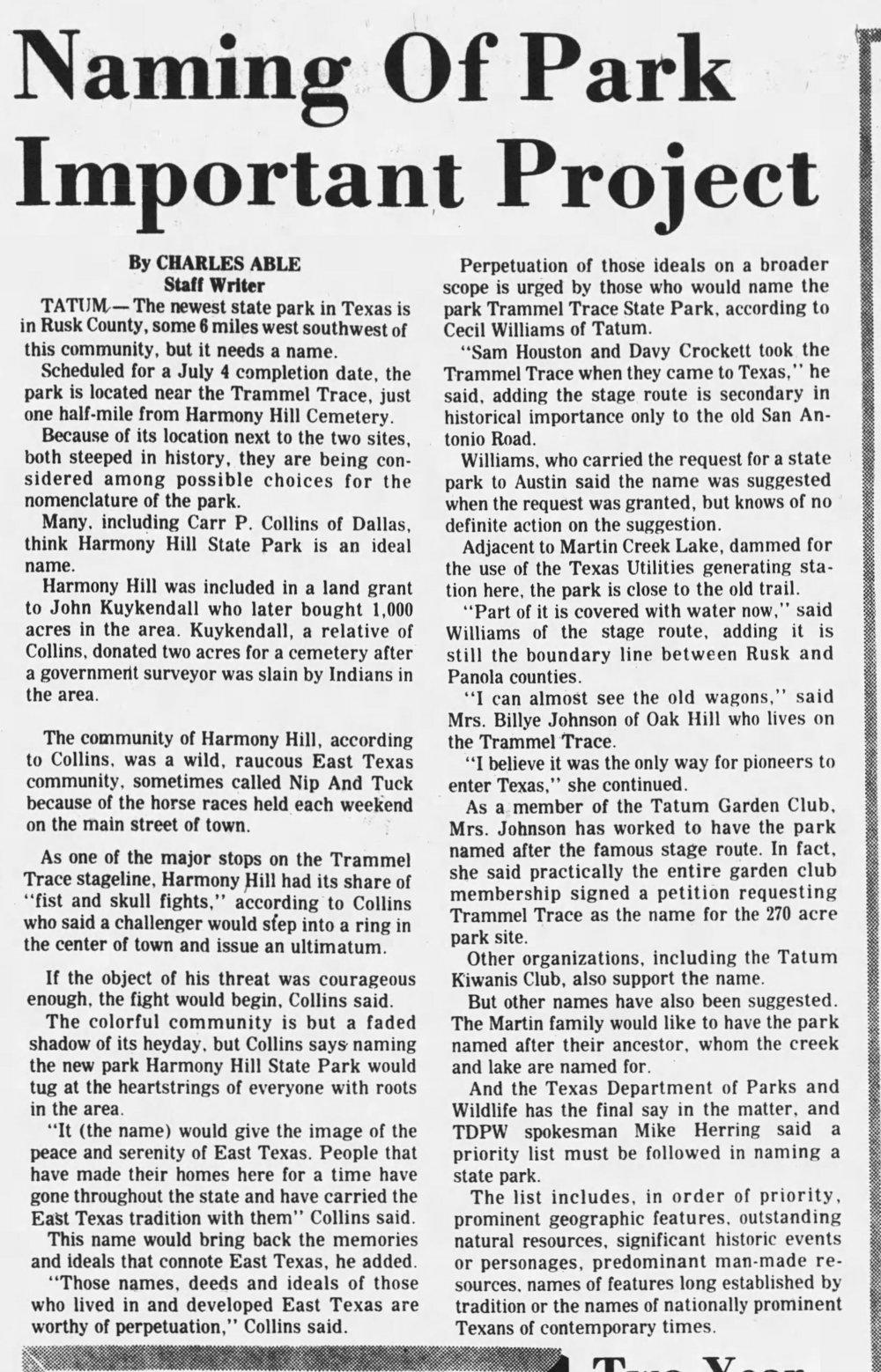 1976-06-20, Longview News-Journal, p 11A, Martin Lake park named Trammell.jpg