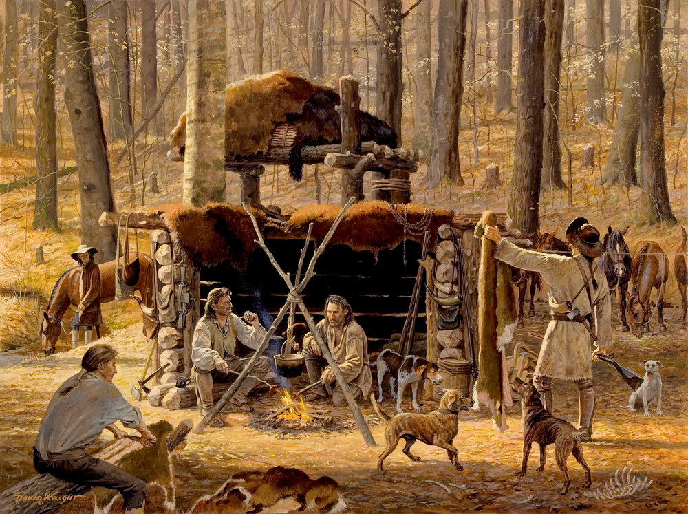 """The Station Camp - Dogs and Deerskins"" by David Wright. Used with permission. www.davidwrightart.com."