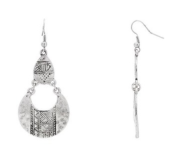Silver toned stamped aztec earrings from Katies $12.95, make them yours. #affiliate