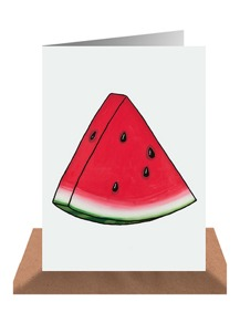 A happy sight is the sight of a fresh slice of watermelon, it screams Summer. This cute illustrated card makes the ideal happy note to a friend, just because. This card is available from Little Paper Lane, $5.95. Shop here.