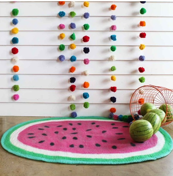 This Watermelon felt rug, From Down To The Woods. Buy yours online from Lime Tree Kids. A friend of mine had this rug, and her beautiful {but naughty} puppy Coco attacked it. There were tears, fancy having this pretty rug, and losing it so tragically.