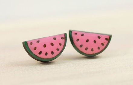 By Bok Bok B'Gerk and available online from Down That Little Lane Watermelon Earrings $16.00