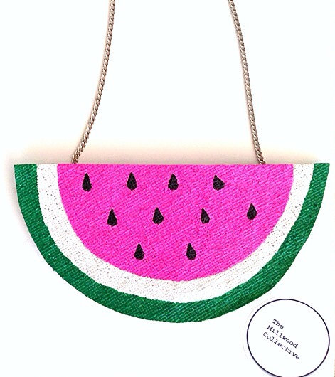 From Brisbane hessian design house, The Millwood Collective Their watermelon necklace, $25.00 is the fun injection you need.