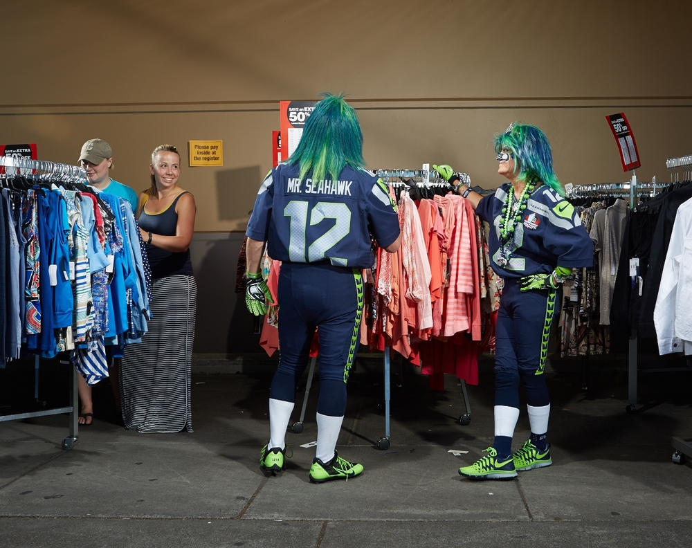 Mr. and Mrs. Seahawks shopping at Fred Meyer, 2014