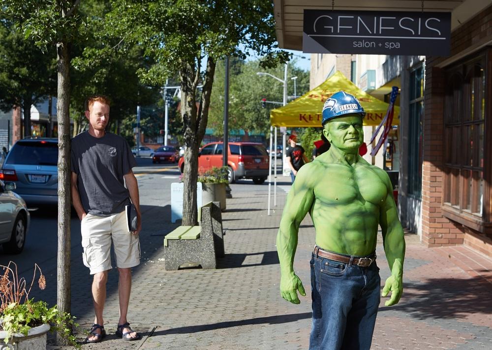 Seahulk takes a breath on the streets of Mt. Vernon, Washington, 2014