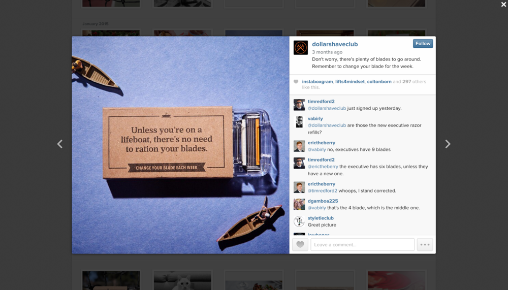 Lifeboat concept as it ran in Dollar Shave Club social media channels.
