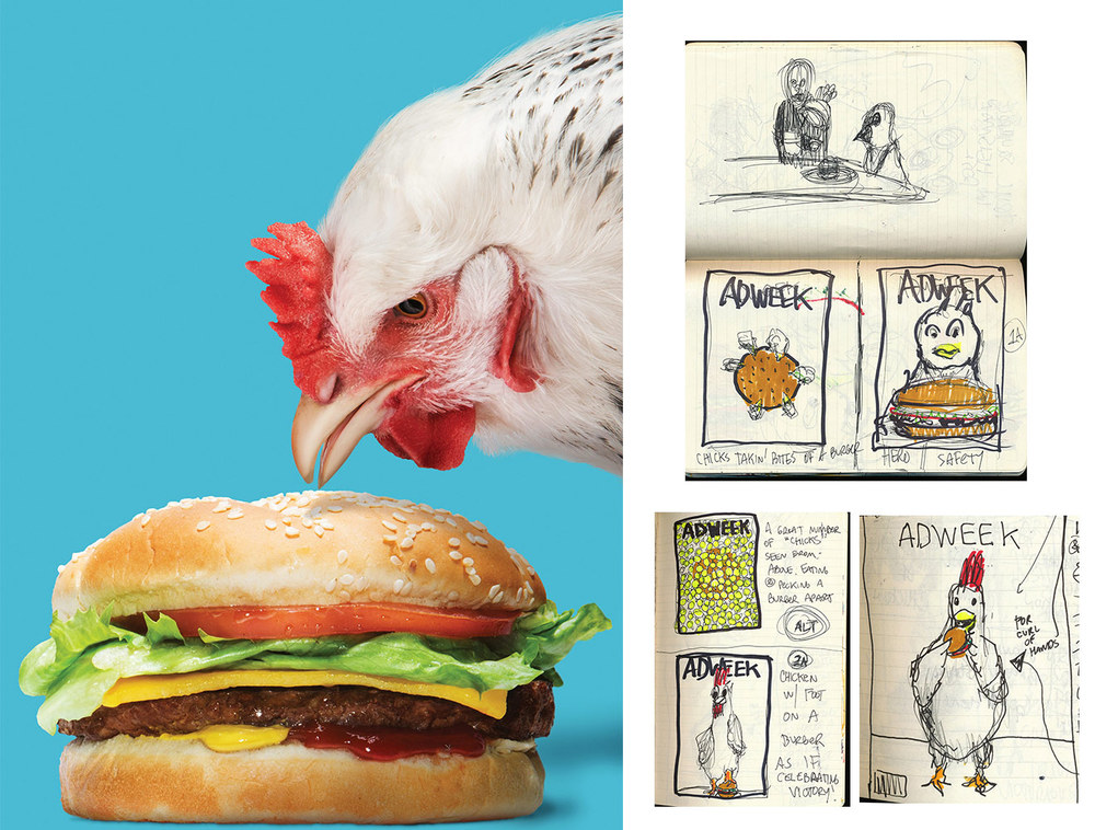 """Conceptual development / remote ideation process for Adweek's """"Dominant Chicken"""" cover and opener, 2014.This work was featured by Heidi Volpe in the popular industry blog, A Photo Editor. Click the image above to read the interview."""