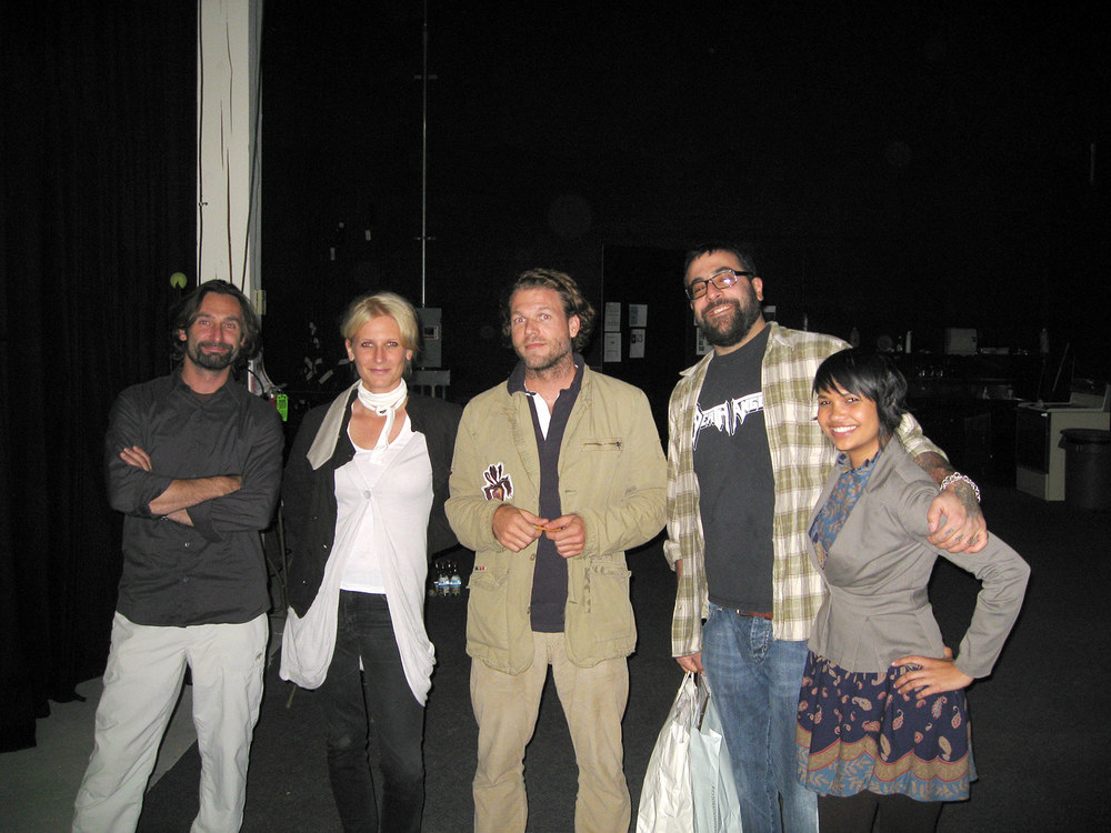 Crew vibes from left to right:Andreas Franke, Julia Mueller-Maenher, Matthias Gaggl, Antonio Ballatore, Nina Day. Shot on location at Pacific Grip and Lighting, 2008.