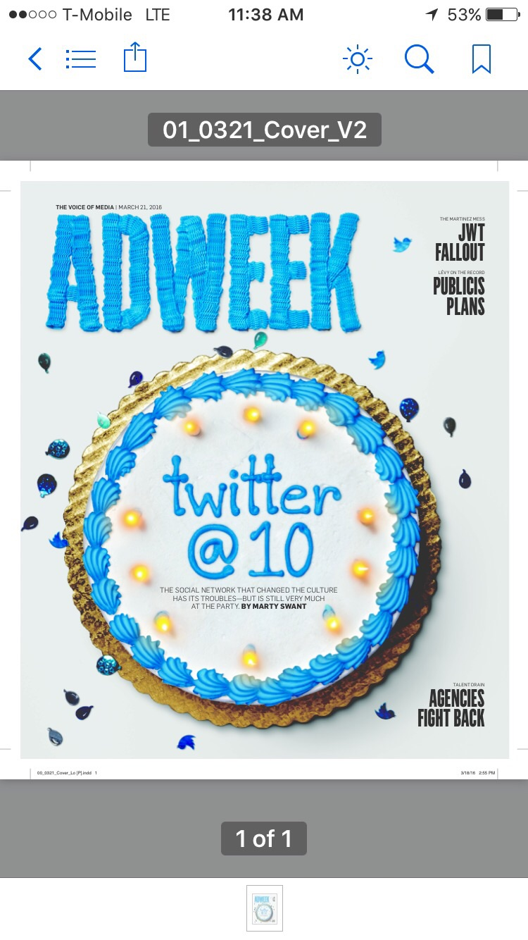 Screen grab of iPhone of current Adweek cover in my iBooks application.