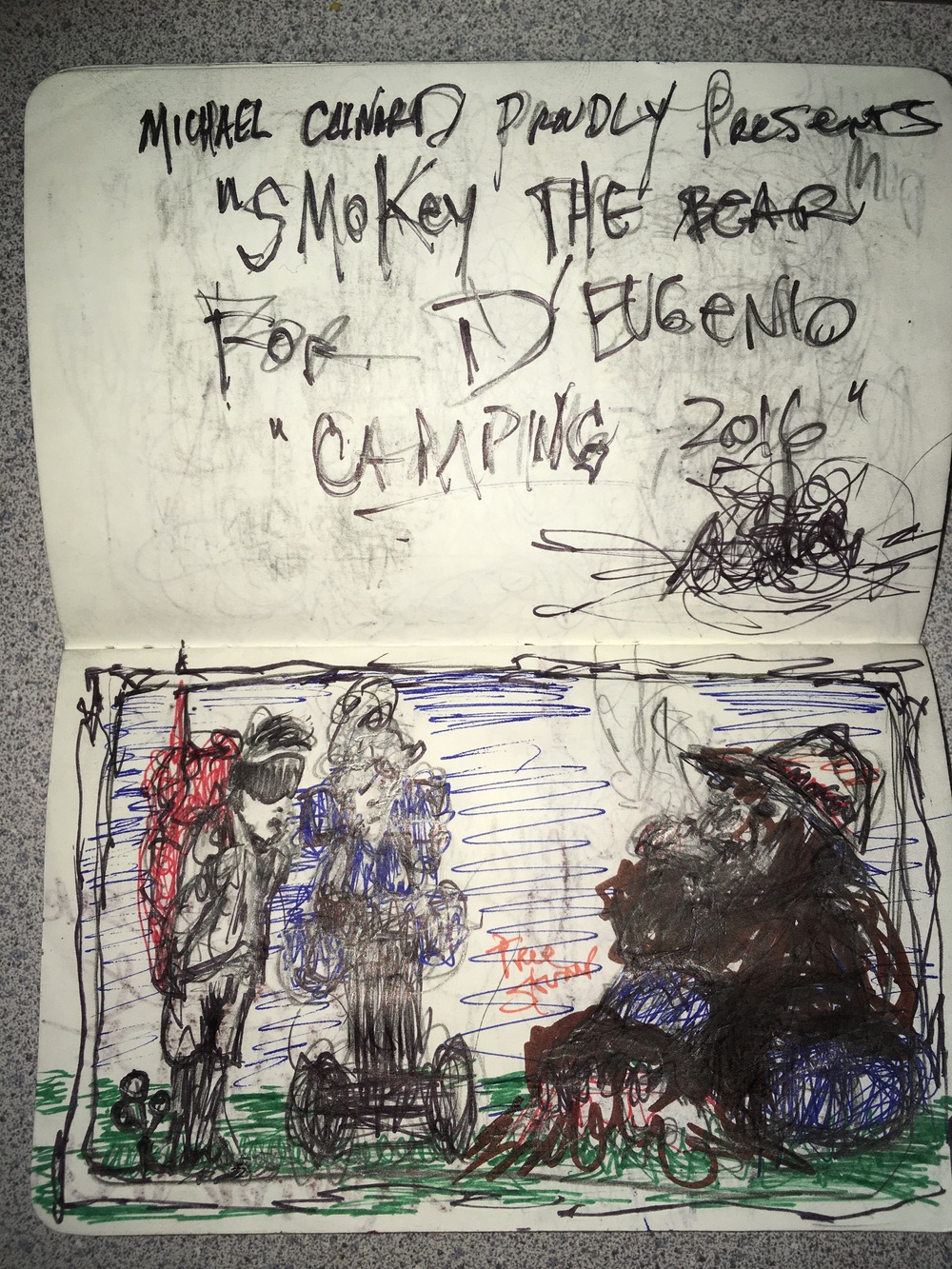 Oculus Bro and Segway Gal observe Smokey the Bear with Fire, 2016. Sketch by Michael Clinard.