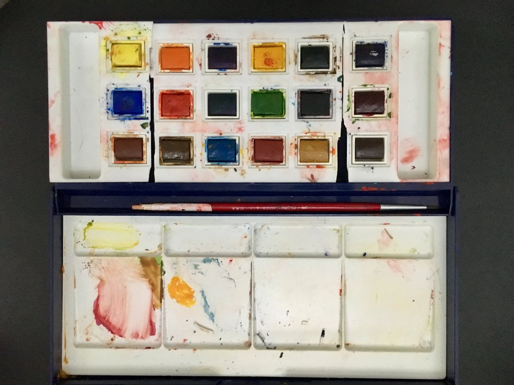 The watercolor palette of artist, Michael Clinard, 2017.