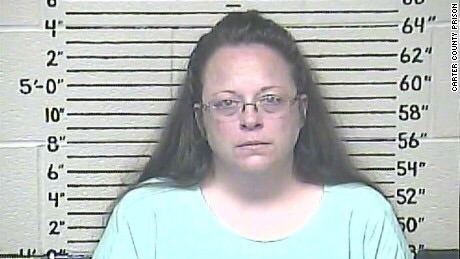 Kim Davis, the Rowan County clerk in Kentucky who was jailed for refusing to grant marriage licenses to gay couples.