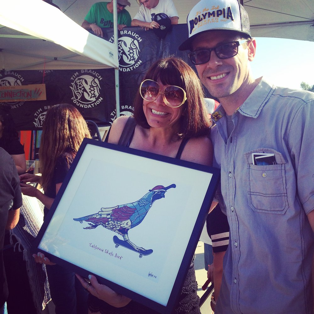 "Happy winner of the ""California Skate Bird"" print at Lake Cunningham skate park."