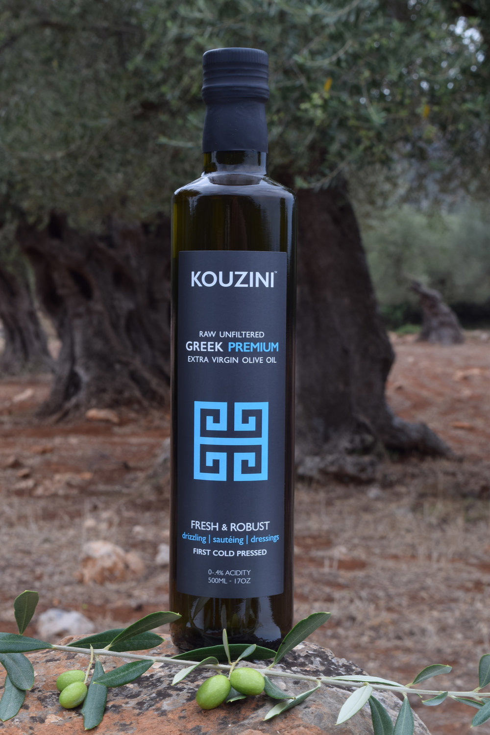 Unfiltered Ultra Premium Greek extra virgin olive oil.