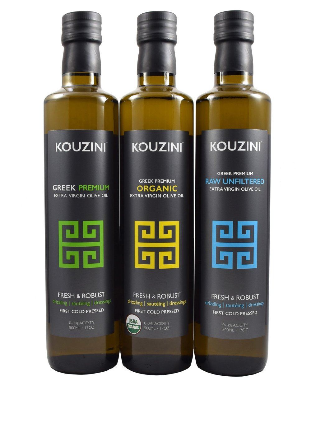 Kouzini organic Ultra Premium extra virgin olive oils. Our olive oil is certified organic and nongmo verified