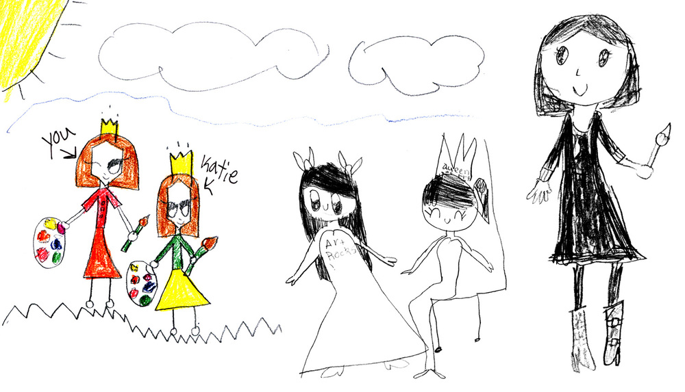 Portraits of Erica by Katie, Sofia and Yuan Yuan,Grade 2 students at The International School of Beijing