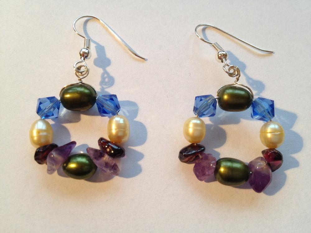 green pearl amethyst garnet earrings circle.JPG