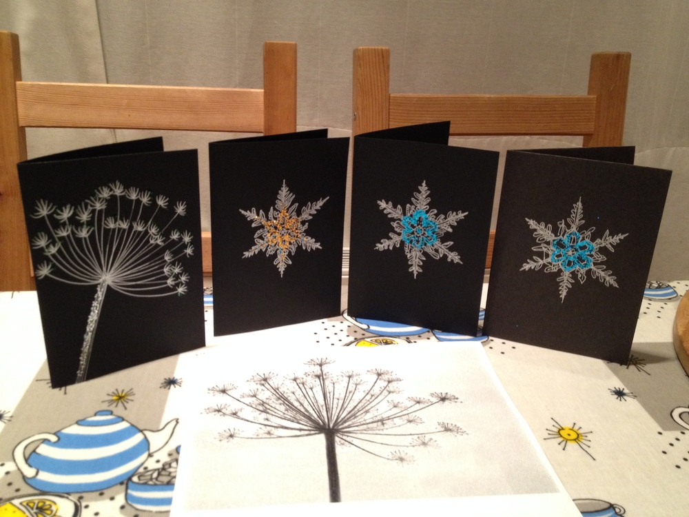 Hand-illustrated snowflake and cow parsley glitter Christmas cards
