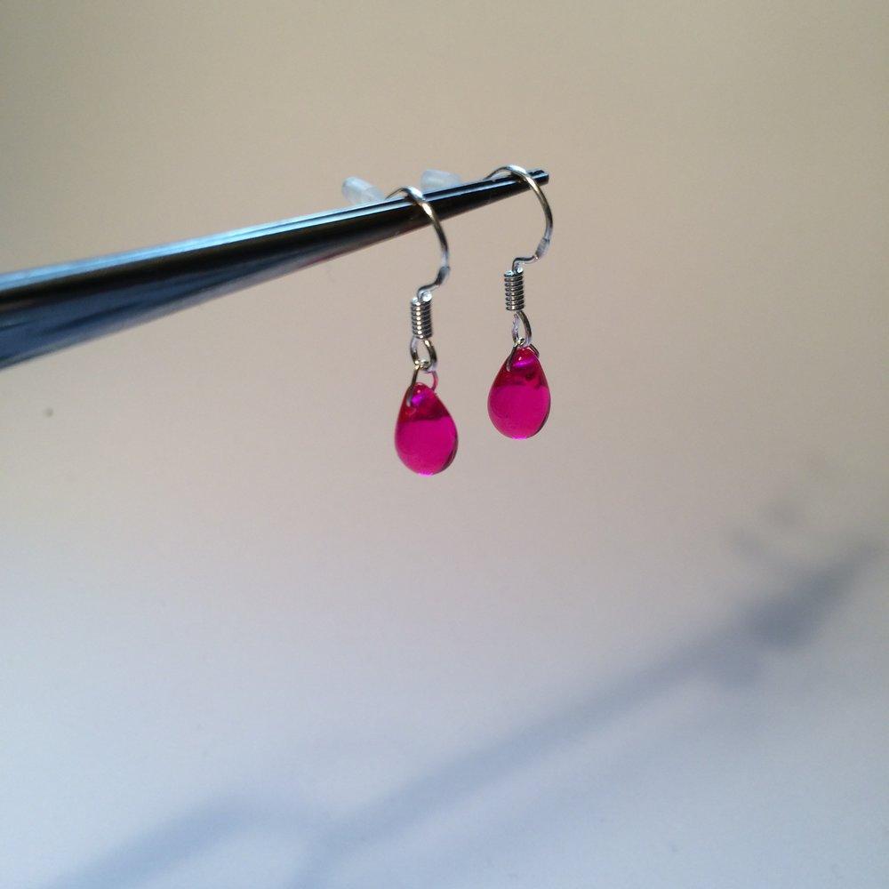 Czec glass & silver teardrop earrings