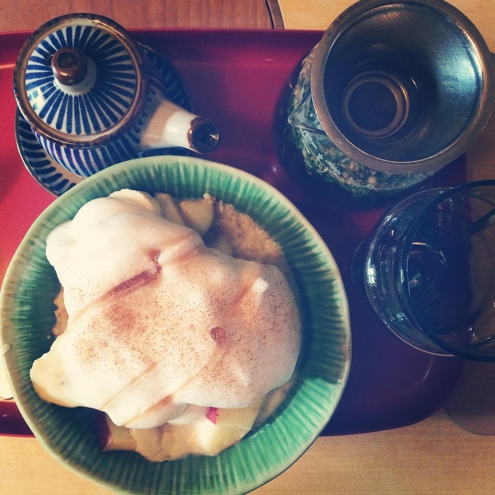 Millet porridge with soya foam, and Yoga Blend tea - my Saturday breakfast at the Tushita Teehaus