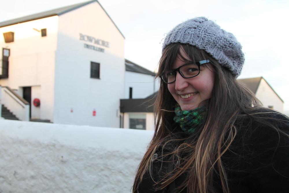 My beautiful cousin, Sarah, in front of the Bowmore Distillery