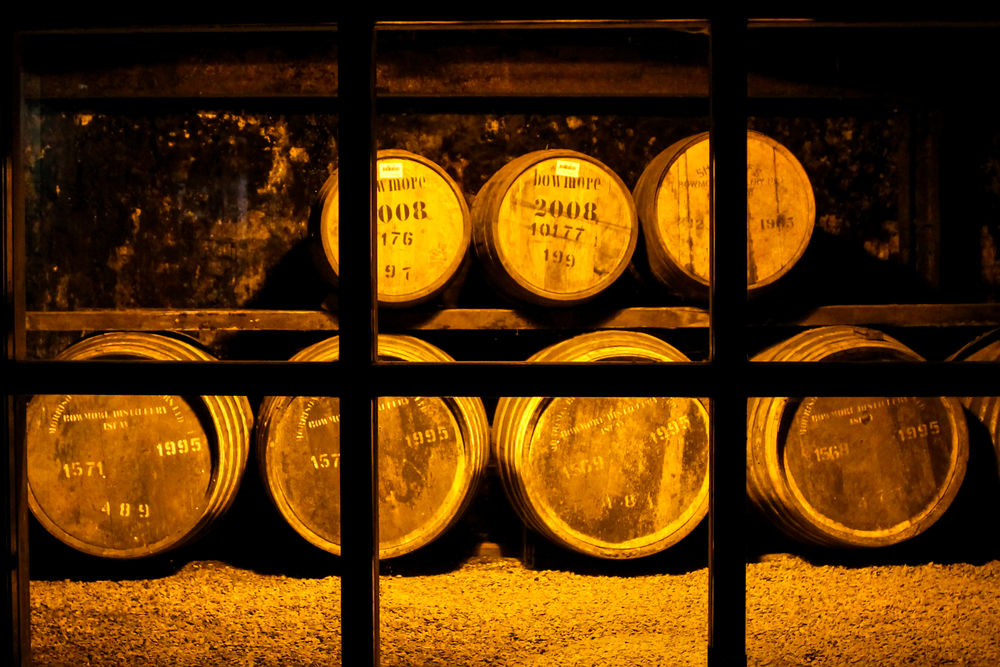 Whisky barrels at the Bowmore Distillery