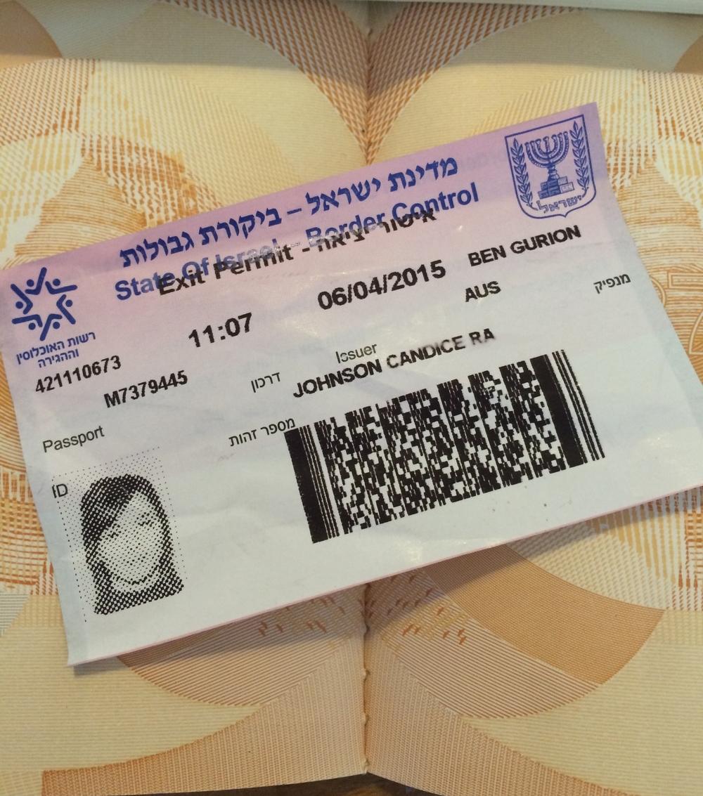 Israeli Tourist visa, the temporary tattoo of passport stamps