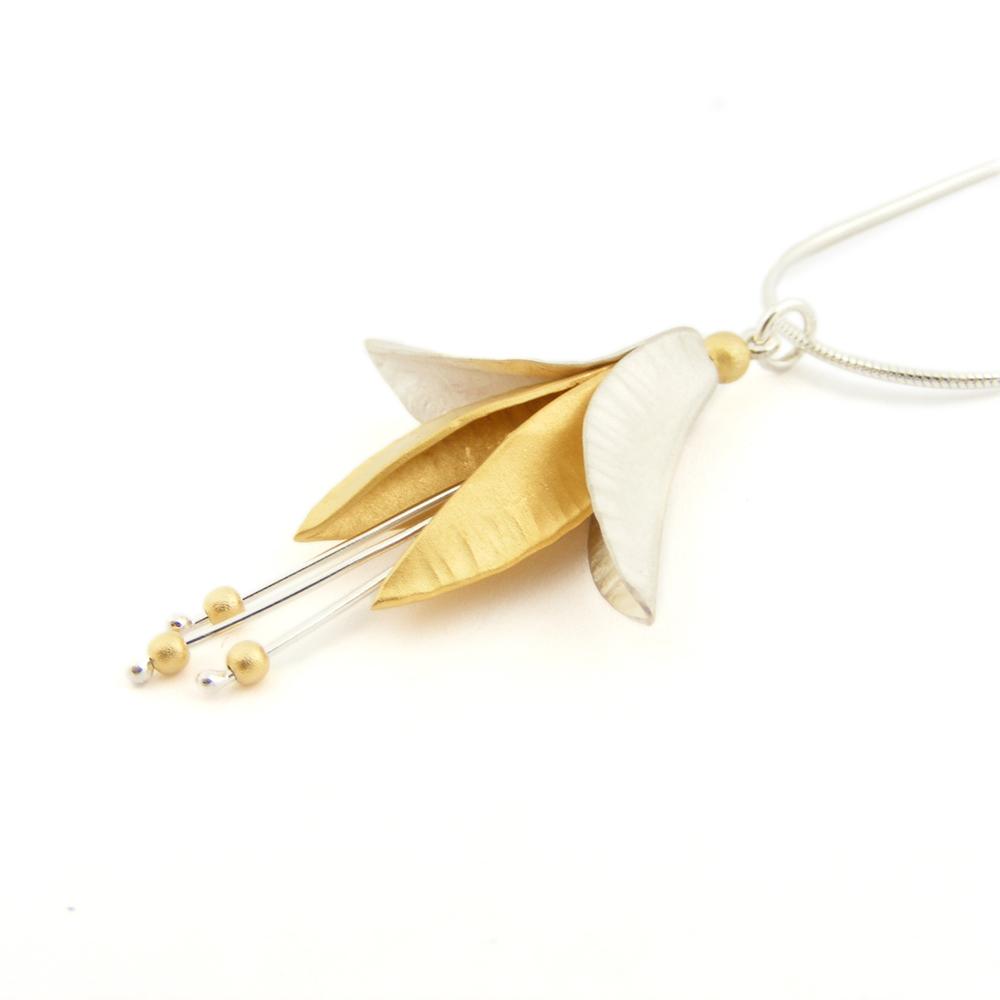 Silver 7 18ct Gold Plate Fuchsia Pendant