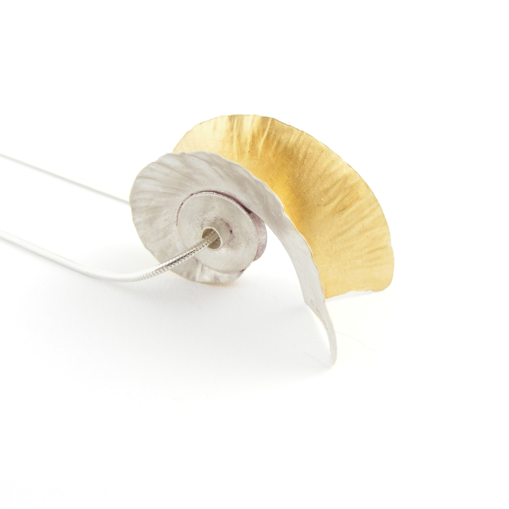 Silver & 18ct Gold Plate Nautilus Pendant
