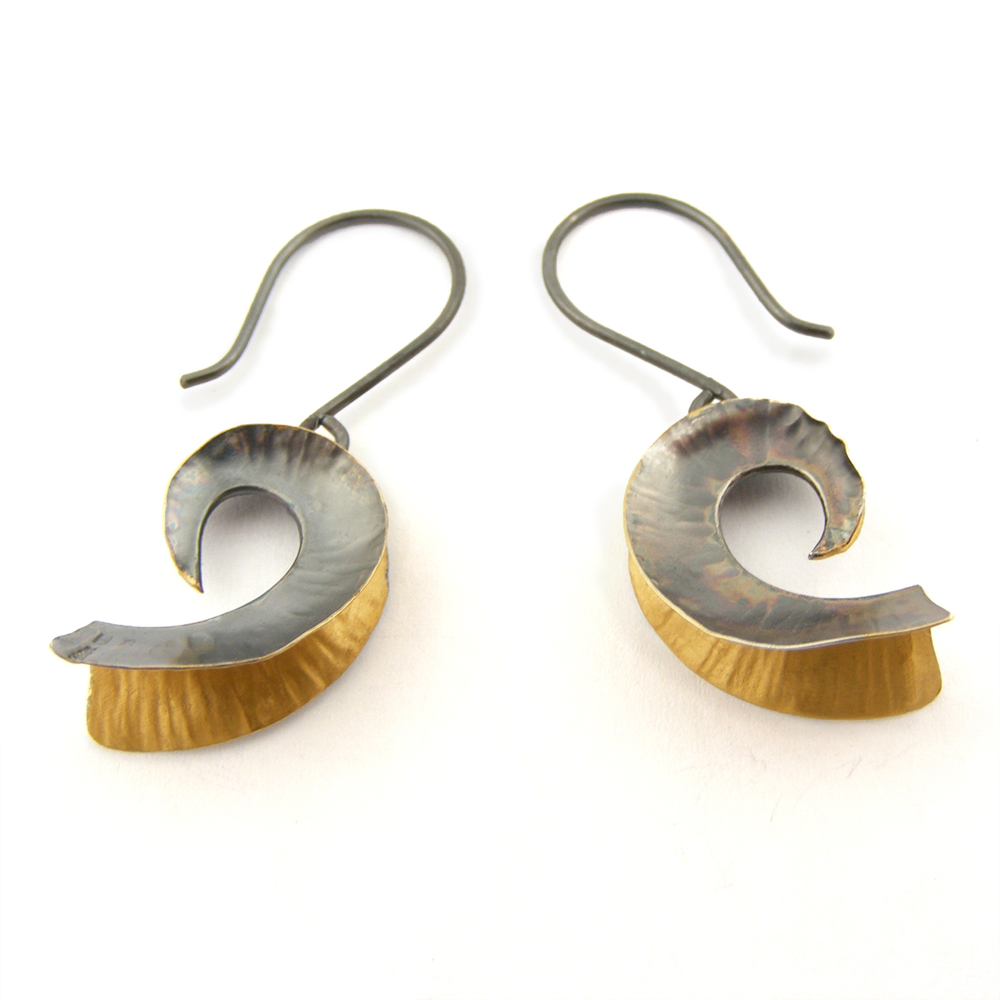 Oxidised Silver & 18ct Gold Plate Nautilus Earrings